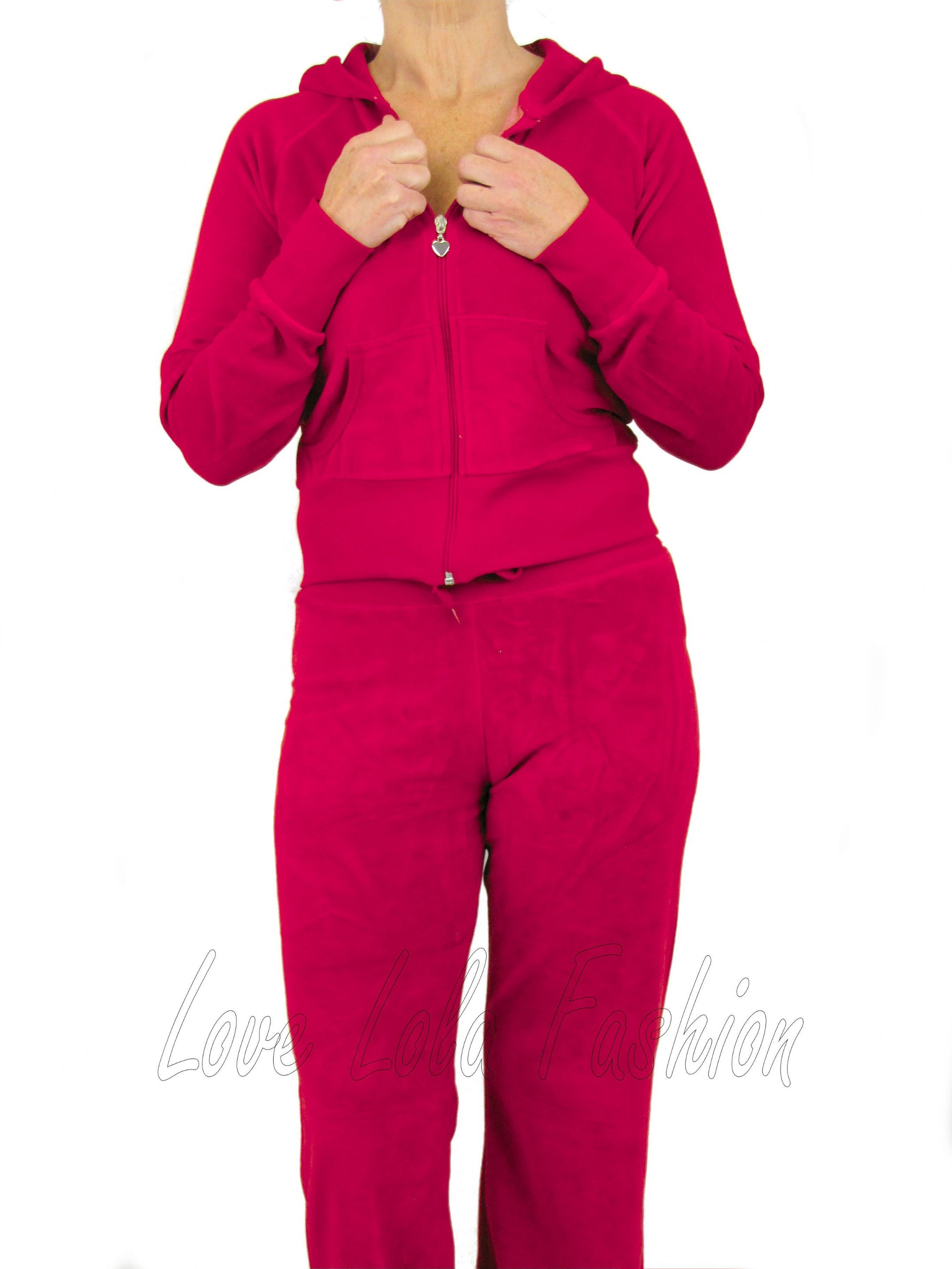 Love Lola Womens Velour Tracksuits Raspberry